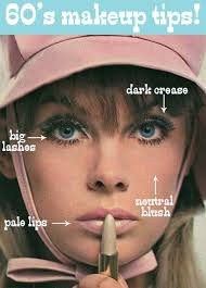 Sixties makeup styles highlighted eyes with pale lips.