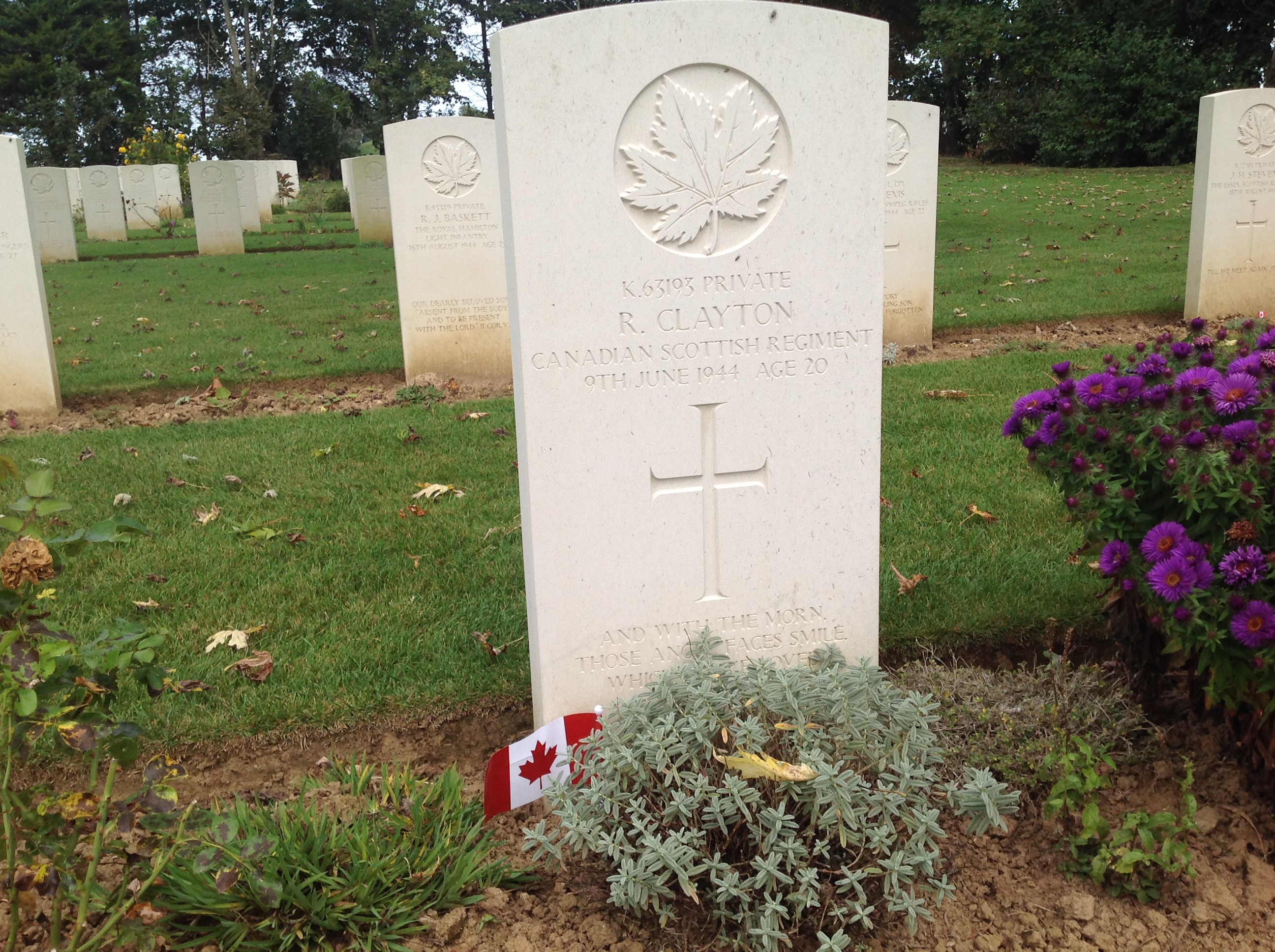 R. Clayton of the Canadian Scottish Regiment died three days after D-Day in 1944 at the age of just 20.